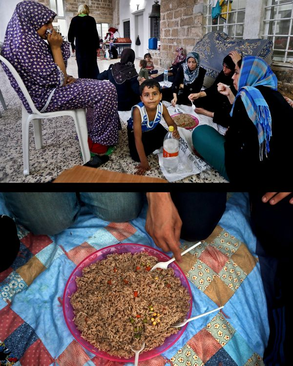 This combination of two photos taken on Wednesday, July 23, 2014, shows a Palestinian Muslim family breaking their fast, top,