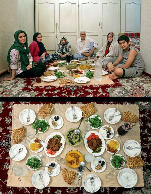 This combination of two photos taken on Thursday, July 3, 2014, shows an Iranian Muslim family waiting to break their fast, t