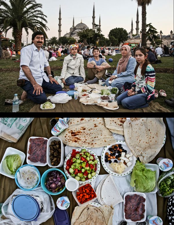 This combination of two photos taken on Wednesday, July 9, 2014, shows a Muslim family waiting to break their fast, top, and