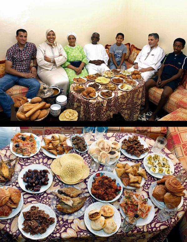 This combination of two photos taken on Saturday, July 5, 2014, shows the Aazzab family waiting to break their fast, top, and