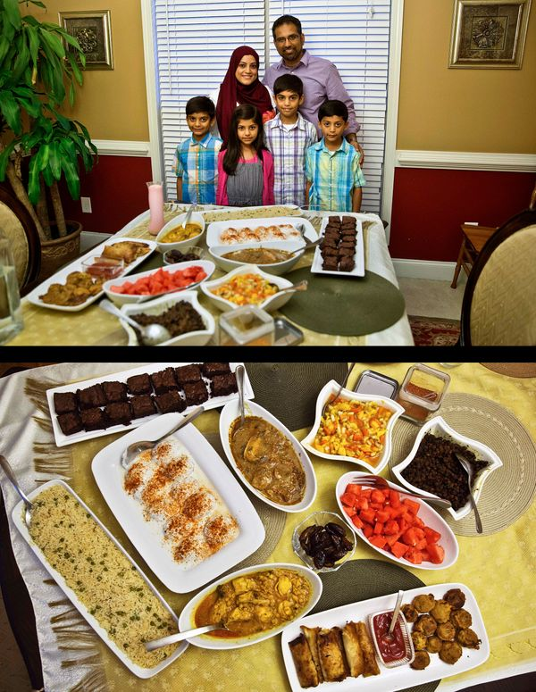 This combination of two photos taken on Wednesday, July 16, 2014, shows a Muslim family posing for a photograph before breaki