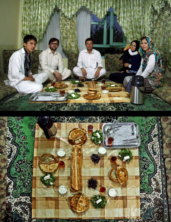 This combination of two photos taken on Monday, July 7, 2014, shows a Muslim family waiting to break their fast, top, and the