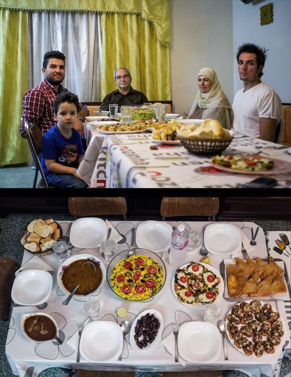 This combination of two photos taken on Monday, July 7, 2014, shows the Hammami family waiting to break their fast, top, and