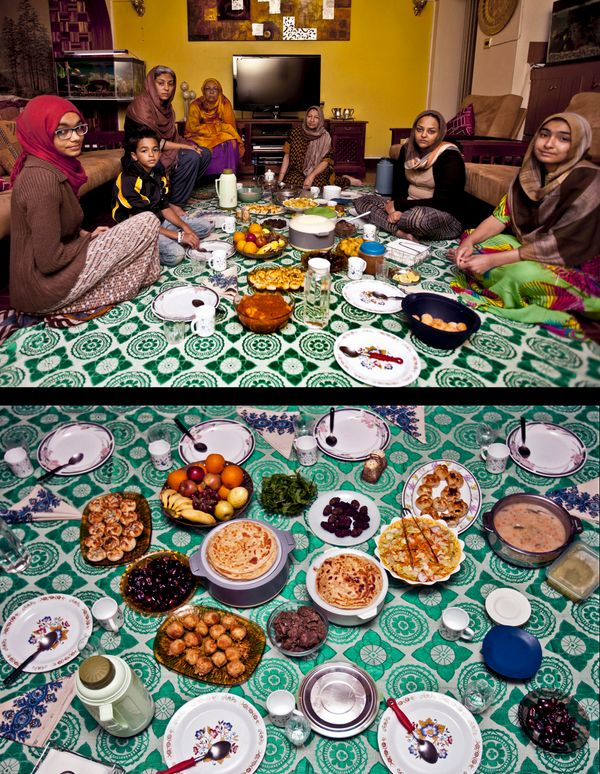 This combination of two photos taken on Sunday, July 6, 2014, shows a Muslim family waiting to break their fast, top, and the