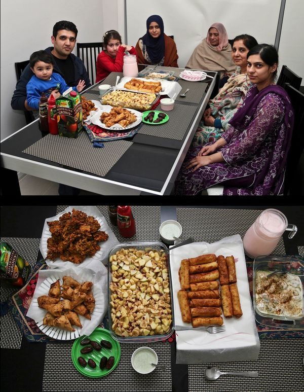 This combination of two photos taken on Friday, July 4, 2014, shows a Muslim family waiting to break their fast, top, and the