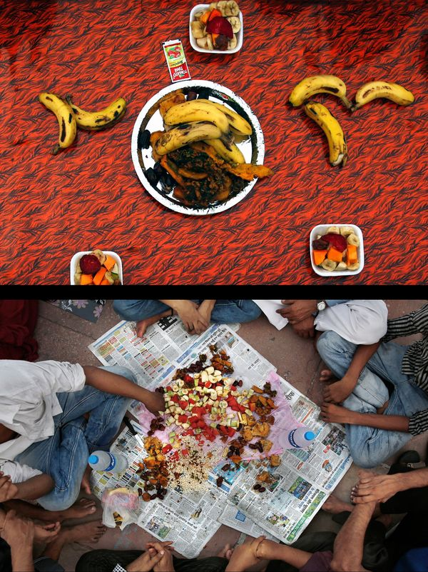 This combination of two photos taken on Monday, June 30, 2014, shows Indian Muslims waiting to break their fast, bottom, and