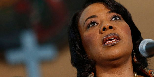 Bernice King speaks during a news conference Thursday, Feb. 6, 2014, in Atlanta.at Ebenezer Baptist Church where her father M