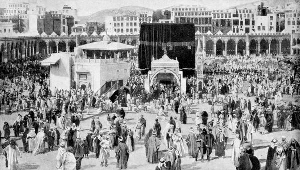 <strong>Mecca's great mosque, Mecca, Saudi Arabia, 1922. </strong>