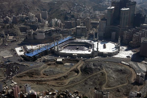 <strong>An aerial view shows the Grand Mosque, Islam's holiest site, amid booming construction in the Saudi city of Mecca on