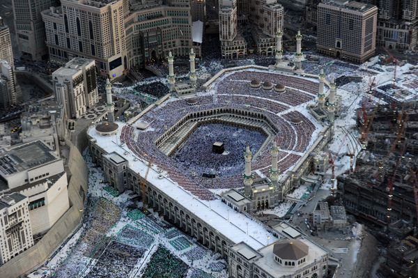<strong>An aerial view shows Muslim pilgrims walking around the Kaaba in the Grand Mosque of the holy city of Mecca on Aug. 6
