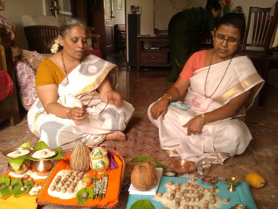 Megha Gokhale performs Grahamak. Before any function the priest must do a puja to the god or goddess to pray for the success