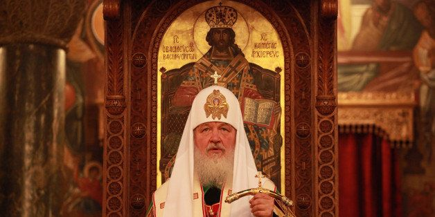 Russian Orthodox Patriarch Kiril attends a Liturgy at the church of Saint Dionysios Areopagitis in Athens, Saturday, June 1,