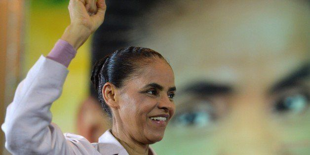 Brazil's presidential candidate for the Brazilian Socialist Party (PSB) Marina Silva attends a campaign meeting with union le