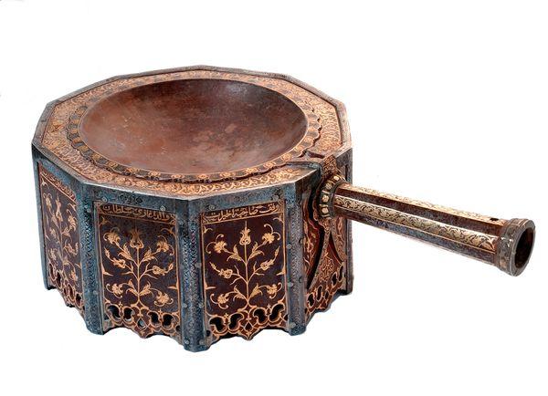 Incense burner, 1649 Turkey Ottoman dynasty (1299–1922) Iron, gold, and silver  National Museum of Saudi Arabia, Riyadh, 2999