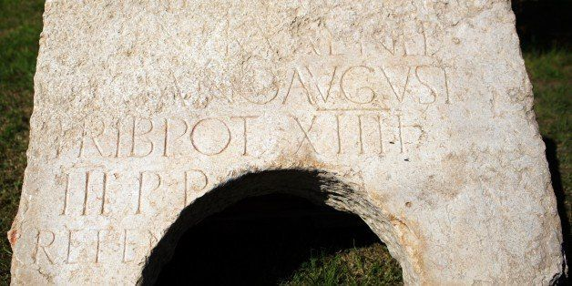 A 2,000-year-old commemorative stone inscription dedicated by the Roman army to Roman Emperor Hadrian, is seen in east Jerusa