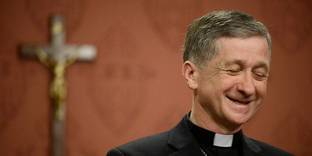 Newly appointed Archbishop of Chicago, Archbishop Blase Cupich speaks to the media after it was announced that he would repla