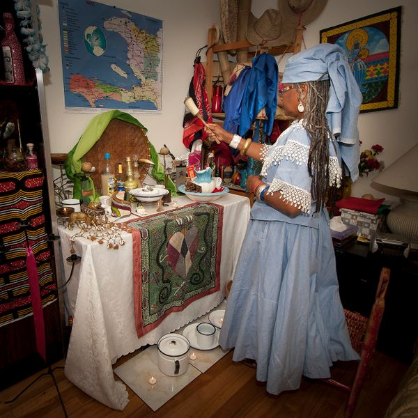 Objects on a Vodou altar continually change. The objects contain remnants of requests made to spirits, services rendered by t