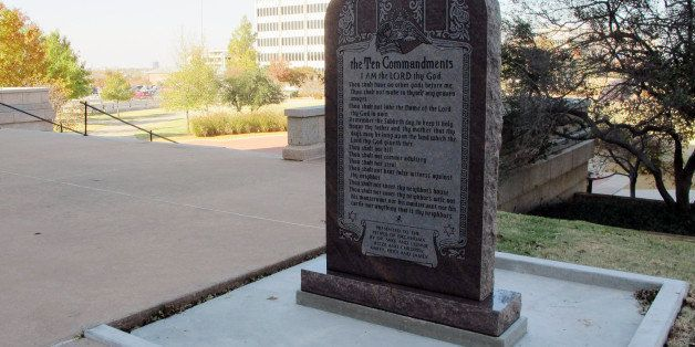A Ten Commandments monument erected outside the Oklahoma state Capitol is shown on Friday, Nov. 16, 2012. After the 6-foot-ta
