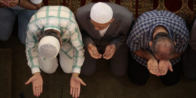 NEW YORK, NY - JULY 28:  Muslims living in New York City perform Eid al-Fitr prayer at Eyup Sultan Mosque on July 28,2014. Ei