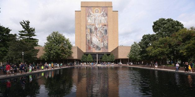 SOUTH BEND, IN - AUGUST 30:  The mural at the Hesburgh Library, commonly known as 'Touchdown Jesus' is seen on the campus of