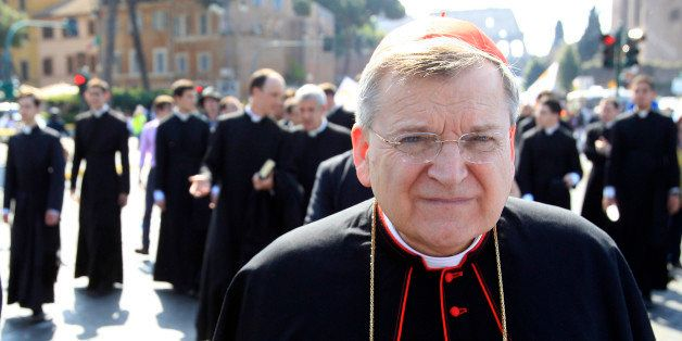 U.S. Cardinal Raymond Leo Burke takes part in an anti-abortion march in Rome, Sunday, May 13, 2012. A few thousand people opp