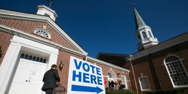 DECATUR, GA - NOVEMBER 4:  Voters turn out to cast their ballots for the midterm election at First Christian Church of Decatu