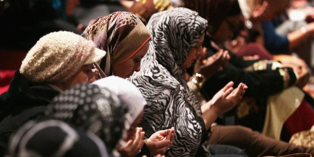WASHINGTON, DC - NOVEMBER 14:  Muslims participate in a Friday prayer November 14, 2014 at the National Cathedral in Washingt