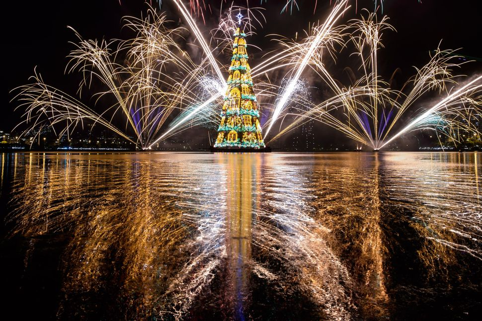 View of fireworks during the inauguration of an 279-feet-high floating Christmas tree at Rodrigo de Freitas lagoon in Rio de