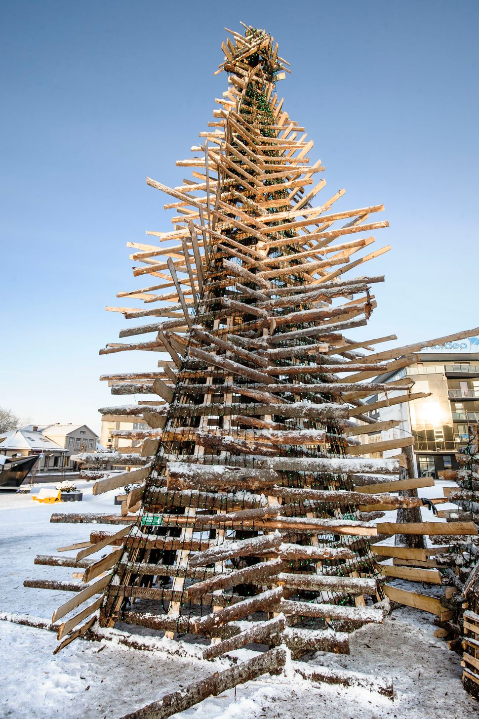 This Christmas tree built with waste wood is over 33 feet high. It is placed by local students at the city centre of Rakvere,