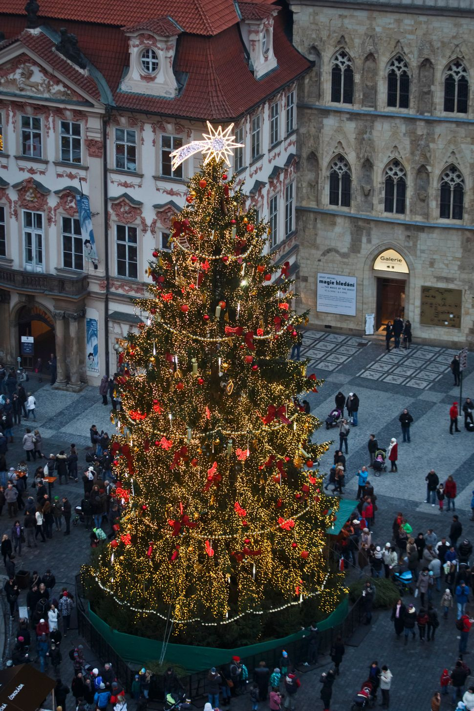A christmas tree stands at the Christmas market at the Old Town Square on November 30, 2014 in Prague, Czech Republic. Chris
