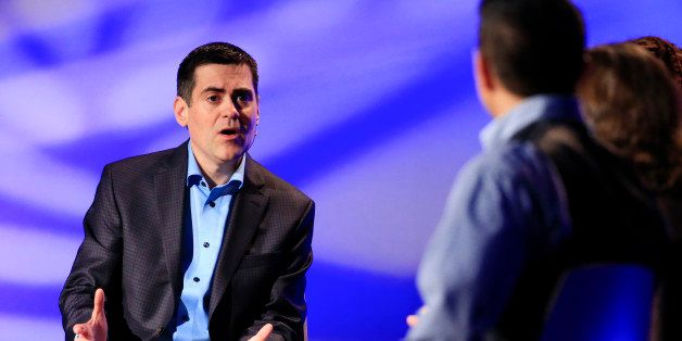 Rev. Russell Moore, left, director of the Southern Baptist's Ethics and Religious Liberty Commission, leads a discussion du