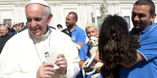 Pope Francis meets members of a Canine unit at the end of his weekly general audience in St Peter's square at the Vatican on