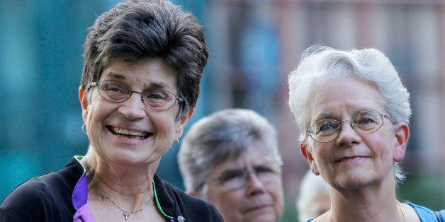 In this Aug. 9, 2012 photo, out going President of The Leadership Conference of Women Religious Sister Pat Farrell, left, and