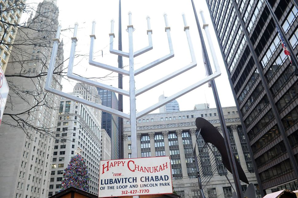 CHICAGO, IL - DECEMBER 08:  A menorah adds to the festive season at Daley Plaza's Christkindlmarket on December 08, 2014 in C