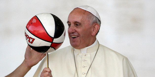 ope Francis keeps the balance of a ball during a meeting with the members of the Italian Sports Center in St. Peter's Square
