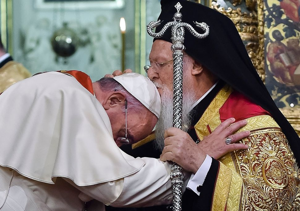 In this Saturday, Nov. 29, 2014 file photo provided by Vatican newspaper L'Osservatore Romano, Ecumenical Patriarch Bartholom