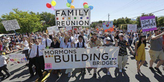 FILE - In this June 2, 2013 file photo, members of the Mormons Building Bridges march during the Utah Gay Pride Parade in Sal