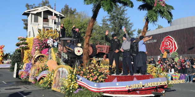 """The United Sikh Mission float """"A Sikh-American Journey,"""" featuring a replica of their 100-year-old place of worship in Stockt"""