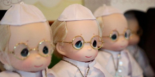 In this Monday Jan. 12, 2015 photo, Pope Francis dolls are on display at a store in Manila, Philippines. The 12-inch limited