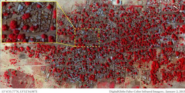 지난 1월 2일 나이지리아 북동부의 도론바가 지역을 찍은 위성사진. 빨간색은 초목이다.