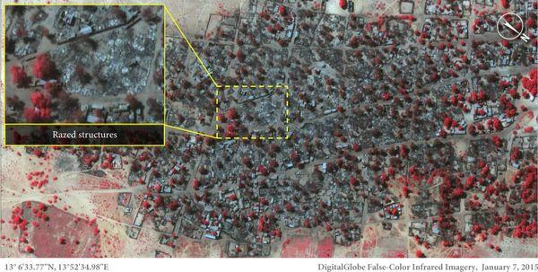 지난 1월 7일 나이지리아 북동부의 도론바가 지역을 찍은 위성사진. 대부분의 건물이 보코하람의 공격으로 파괴됐다.