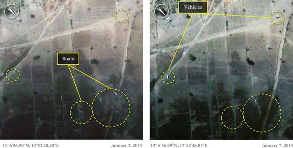 지난 1월 2일과 7일 채드 호숫가를 찍은 위성사진. 2일엔 여러척의 배가 있었지만, 7일엔 모두 사라졌다.