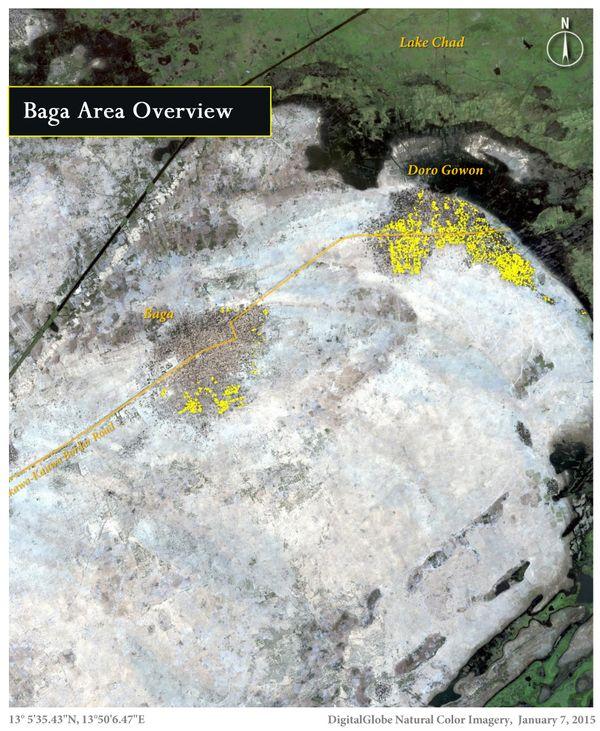 지난 1월 7일 나이지리아 북동부의 보르노주 바가 지역을 찍은 위성사진.