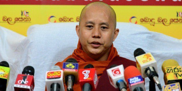 Myanmar Buddhist monk Ashin Wirathu addresses a press conference in Colombo on September 30, 2014. A controversial Buddhist c