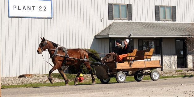 **ADVANCE FOR SUNDAY, MAY 10** In this April 17, 2009 photo, a buggy travels past a plant in Nappanee, Ind. The Amish, like e