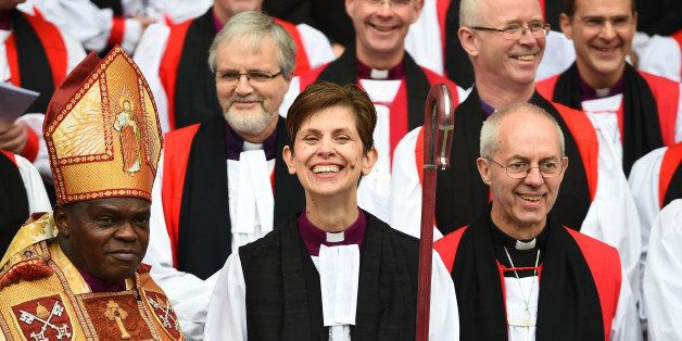 YORK, ENGLAND - JANUARY 26:  The Reverend Libby Lane smiles as she stands next to the Archbishop of Canterbury, Justin Welby,