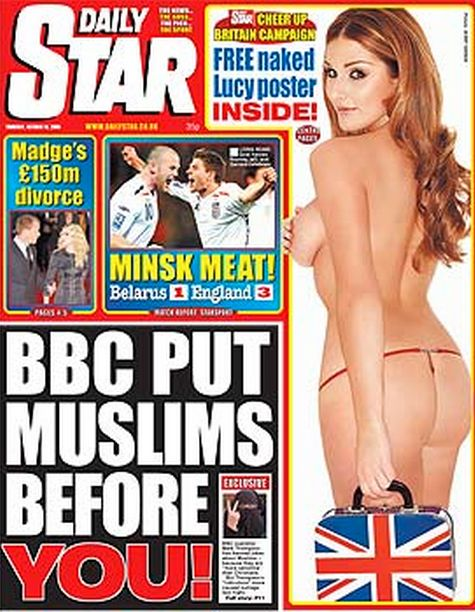 The Star front page splash headline comes complete with a woman in a face veil sticking two fingers up.