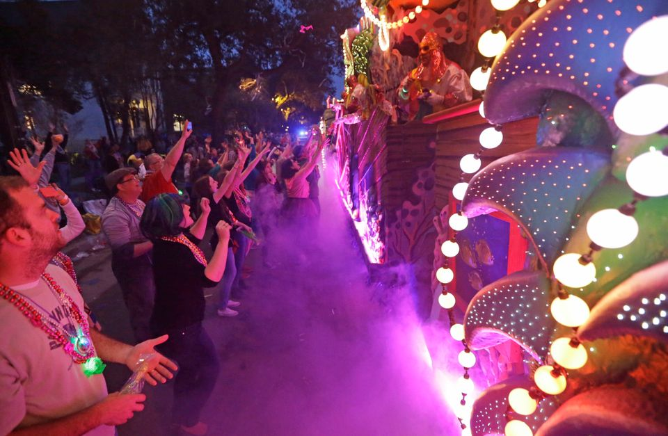 The Krewe of Proteus Mardi Gras parade roles down Napoleon Aveune in New Orleans, Monday, Feb. 16, 2015.