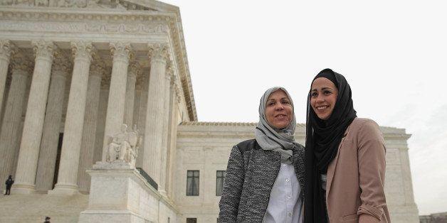 WASHINGTON, DC - FEBRUARY 25:  Samantha Elauf (R) and her mother Majda Elauf of Tulsa, Oklahoma, pose for photographers outsi
