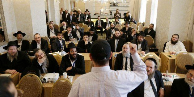 Rabbis take part in a first aid training during the Conference of European Rabbis in Prague, Czech Republic, Tuesday, Feb. 24